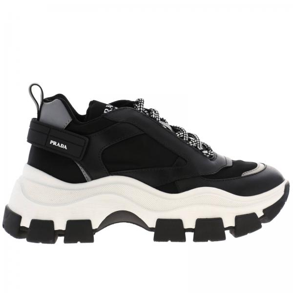 Pegasus lace-up sneakers in leather and nylon with Prada logo