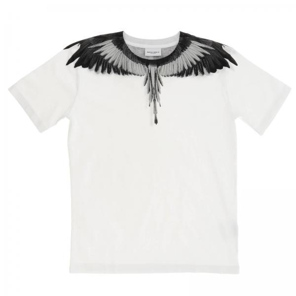 T-shirt a maniche corte con maxi stampa piume