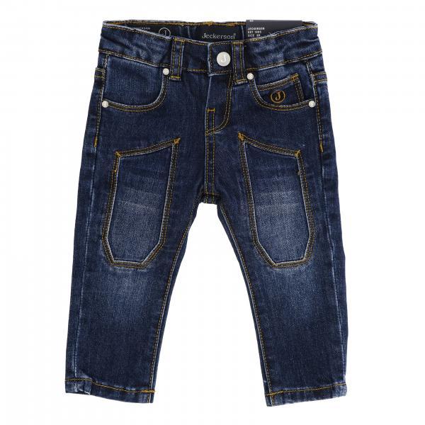 Jeans JN1430 Jeckerson slim a 5 tasche in denim stretch used con toppe