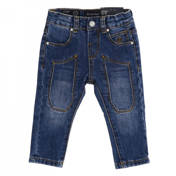 Jeans JN1431 Jeckerson slim a 5 tasche in denim stretch used con toppe