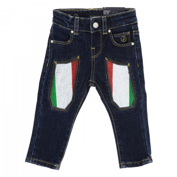 Jeans JN1408 Jeckerson a 5 tasche in denim con toppe a bandiera