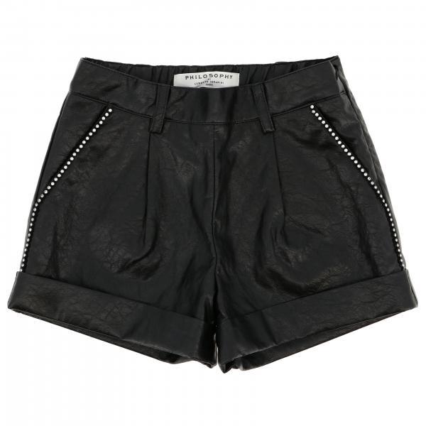 Shorts ecopelle con dettagli strass