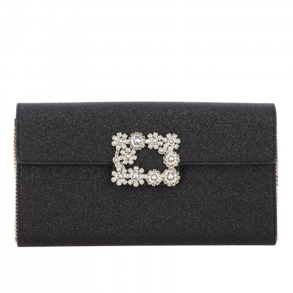 Clutch Envelope Flap Flower Buckle di strass in tessuto glitter
