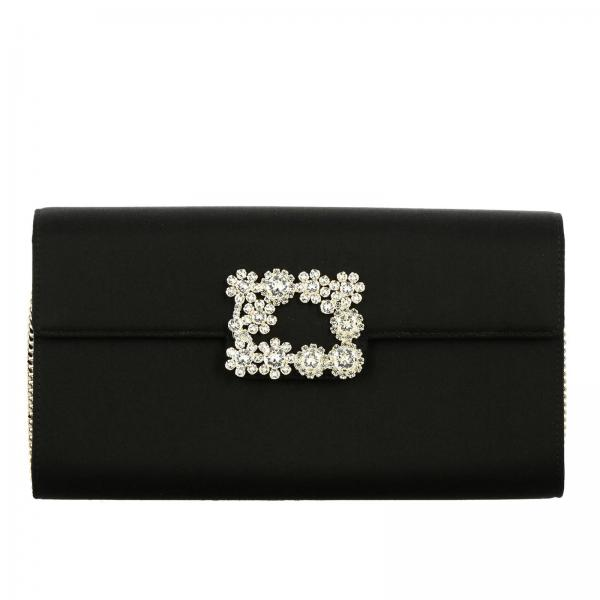 Clutch Envelope Flap Flower Buckle di strass in raso