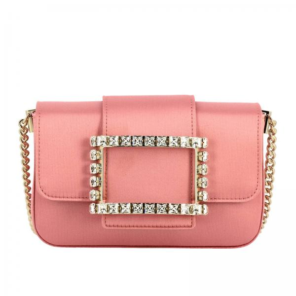 Borsa Très Roger Vivier mini in raso con big strass Buckle