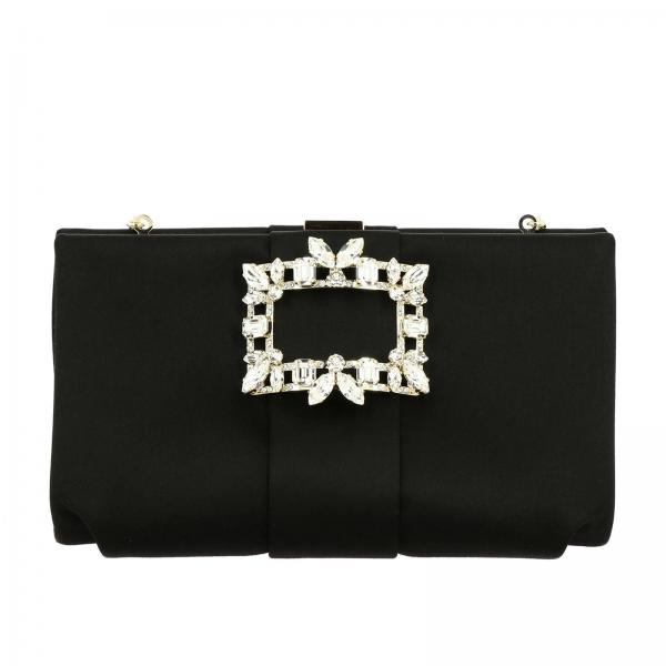 Clutch Soft Broche Roger Vivier in raso con maxi strass buckle