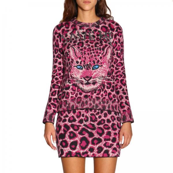 Pullover mit Rundhalsausschnitt von Alberta Ferretti mit Animalier Muster