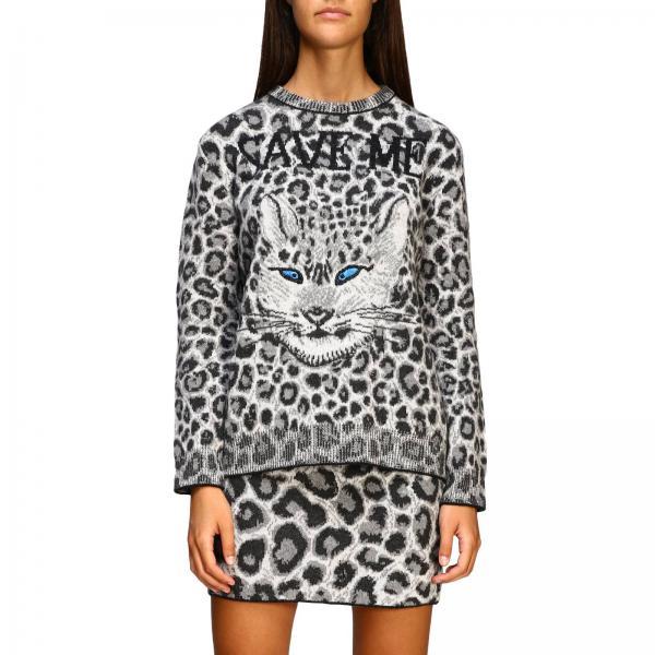 Alberta Ferretti crew-neck pullover with animalier and lynx pattern