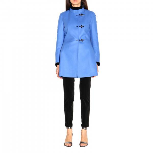 Cappotto Virginia Fay con alamari in panno di misto cashmere e velluto