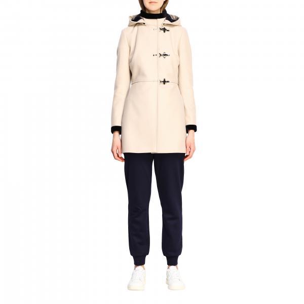 Cappotto Virginia Fay con alamari e cappuccio in misto panno di cashmere