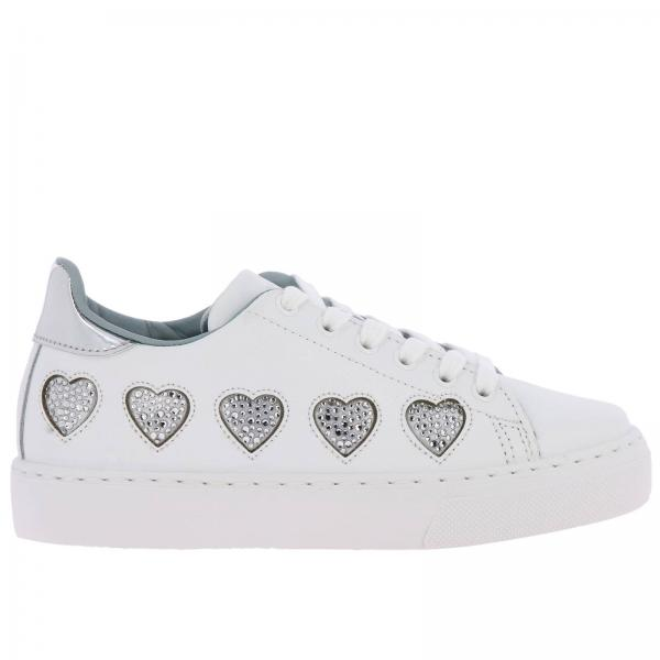 Chiara Ferragni laced sneakers in smooth leather with maxi rhinestone hearts