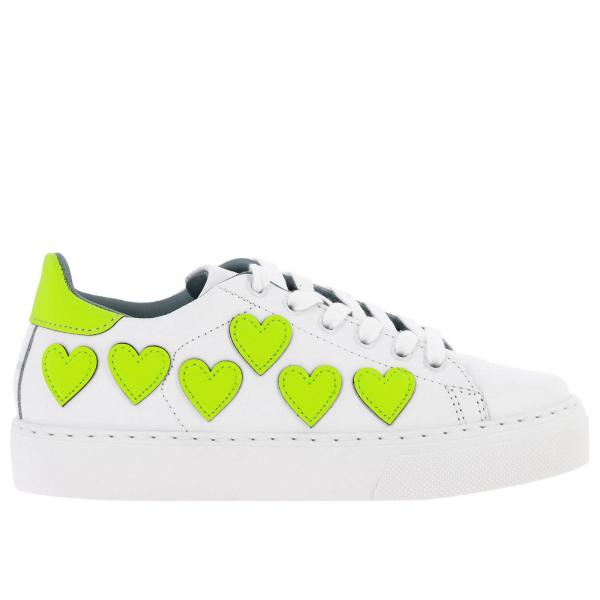 Chiara Ferragni laced sneakers in smooth leather with maxi fluo hearts