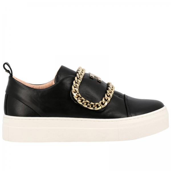 Sneakers Elisabetta Franchi in pelle con catena metallica e logo
