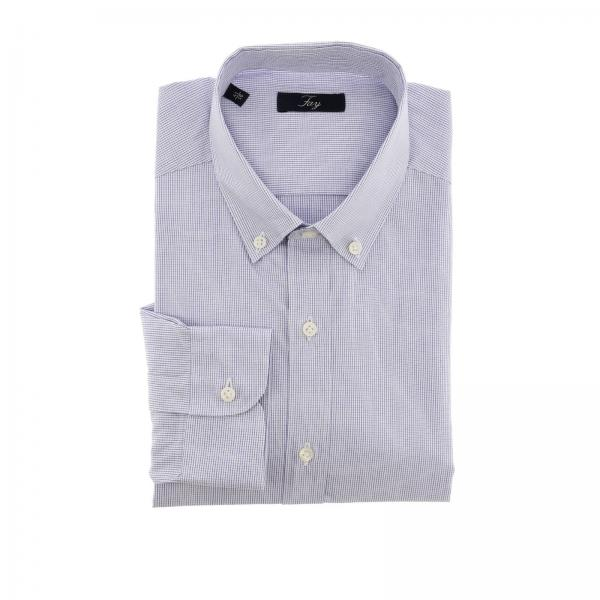 Fay micro patterned shirt with button down collar