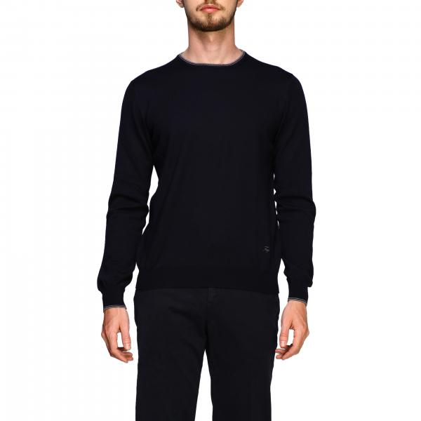 Fay sweater in Merinos wool with long sleeves and contrasting patches