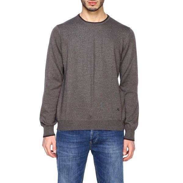 Pull Fay en laine Merinos à manches longues avec patchs contrastés