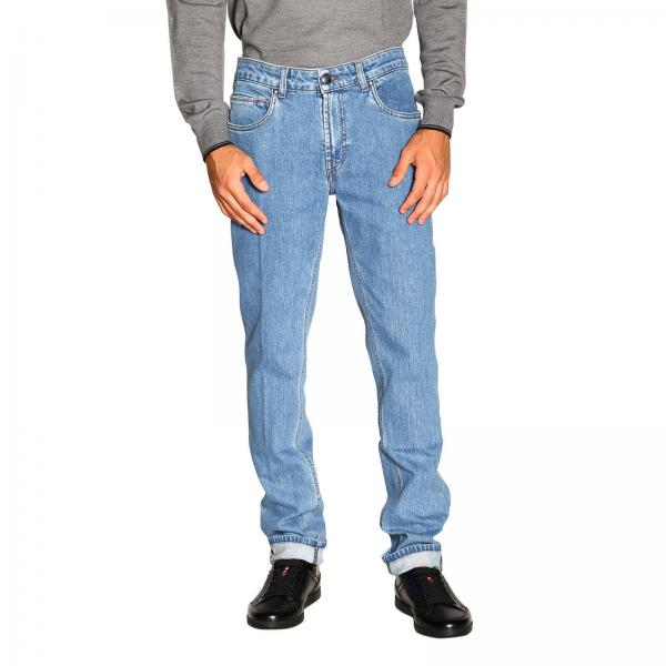 Slim stretch light used jeans with bull pockets