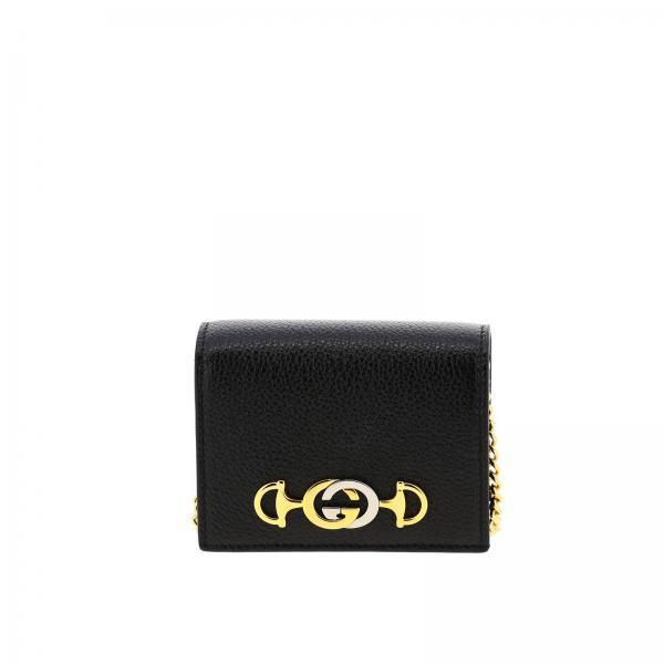 Portafoglio zumi Gucci in pelle martellata con monogramma GG bicolor