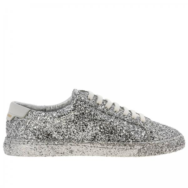 Sneakers Saint Laurent stringata in tessuto glitter