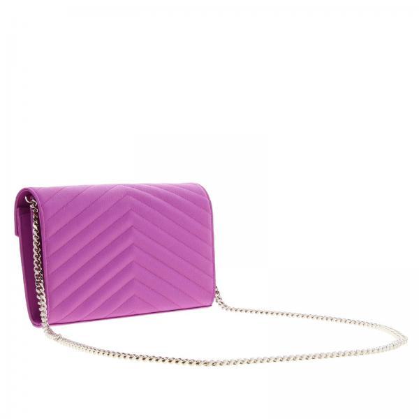 Wallet Saint FuxiaMonogram Chain In Mini Laurent Trapuntata Con Grain Poudre Bow02 377828 Donna De Borsa Logo Ysl Pelle nO0wPk
