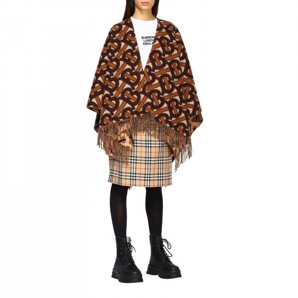Mantella Burberry in lana e cashmere con logo tb all over