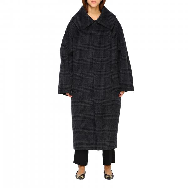 Cappotto over Balenciaga in lana tartan con maxi collo