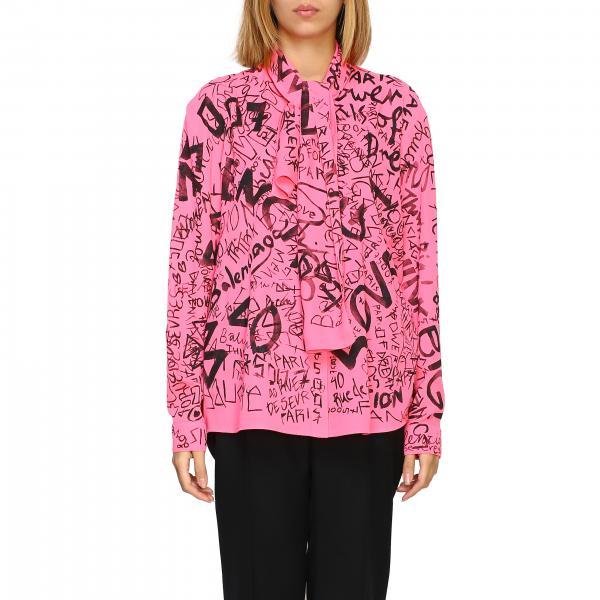 Camicia Balenciaga over in seta con logo all over e fiocco