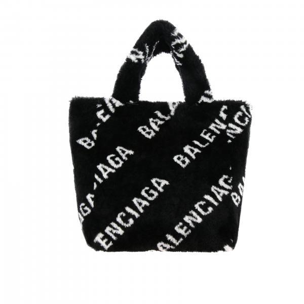 Borsa Everyday tote Balenciaga in pelliccia sintetica con logo all over