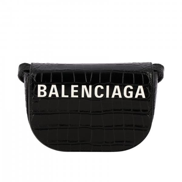 Borsa Ville day Balenciaga in pelle stampa cocco con logo