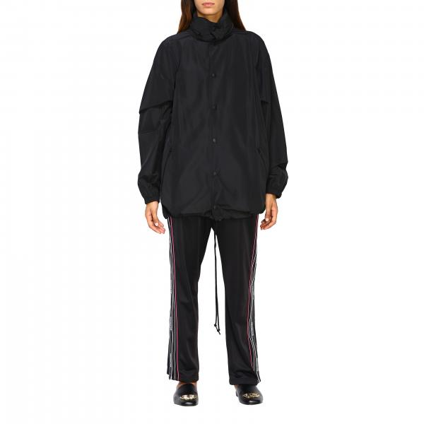 Giubbotto Balenciaga in nylon light con cappuccio e logo