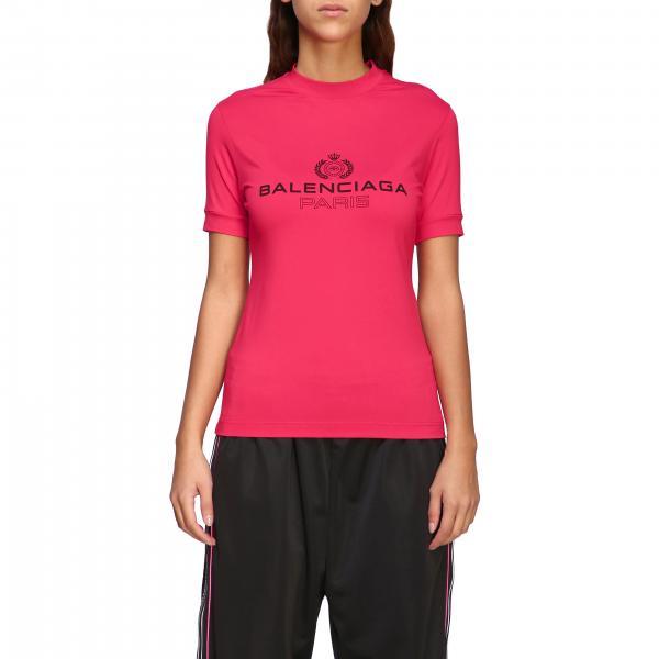 T-shirt Balenciaga a girocollo slim in jersey di cotone stretch con maxi logo