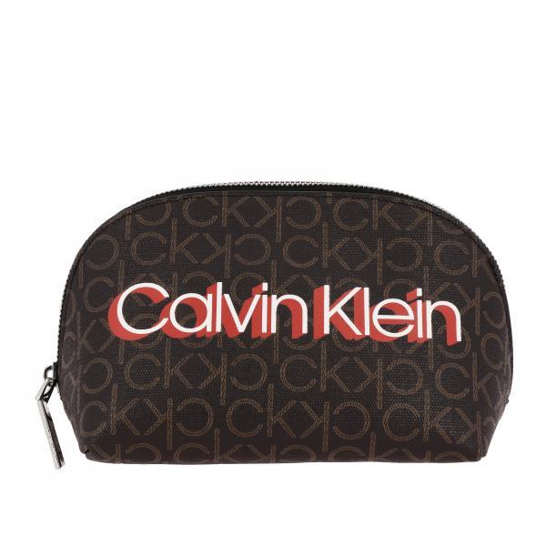 Beauty Case Calvin Klein Monogram in pelle sintetica logata con stampa