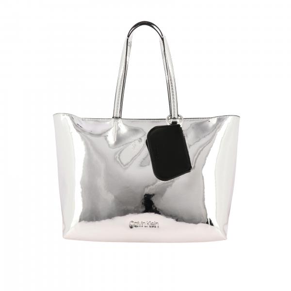 Borsa Ck must Calvin Klein shopping large in pelle sintetica specchiata