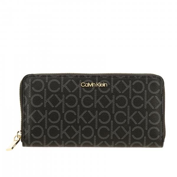 Portafoglio Calvin Klein Ck must zip around in pelle sintetica logata con stampa