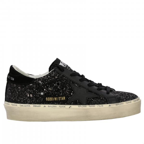 Sneakers Hi star Golden Goose in camoscio pelle e glitter