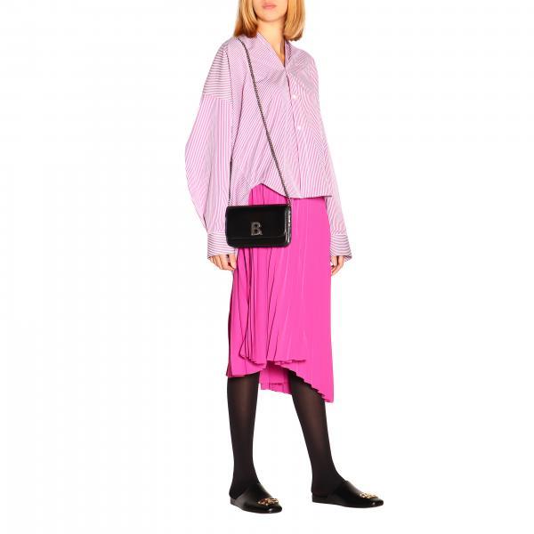 Borsa NeroIn Pelle E 1jhby Con Mini Balenciaga Logo 593615 Donna Tracolla sQrtChd