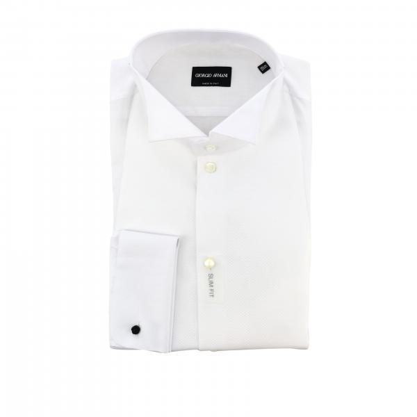 Camisa de esmoquin Giorgio Armani con cuello diplomático y puños dobles