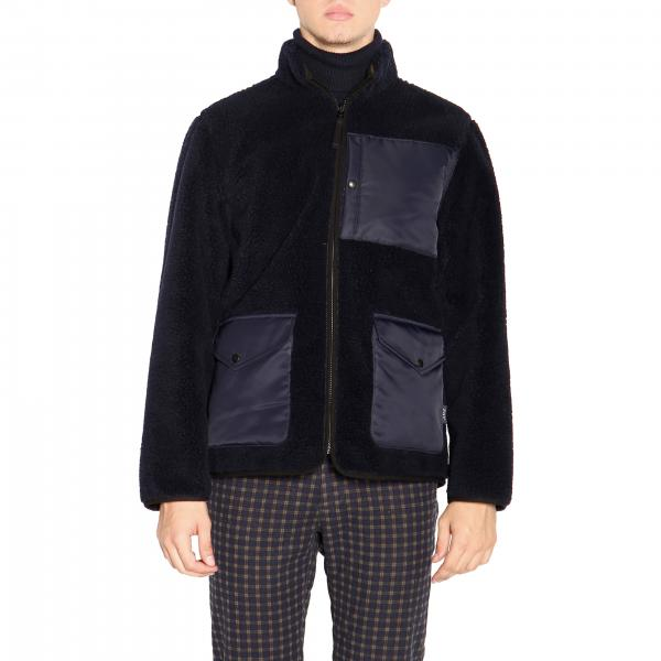 Fay Reversible jacket in leather and fleece