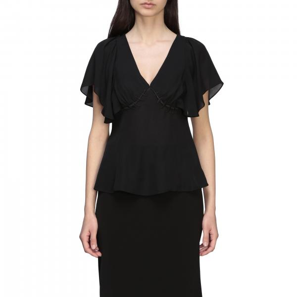Top Moschino Couture in chiffon con cicatrici