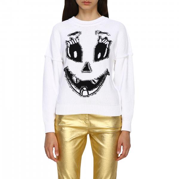 Pullover Moschino Couture Halloween Collection in cotone con Pumpkin Face