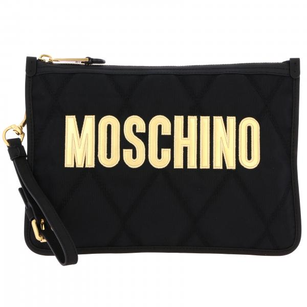 Pochette Moschino Couture in nylon trapuntato con big logo