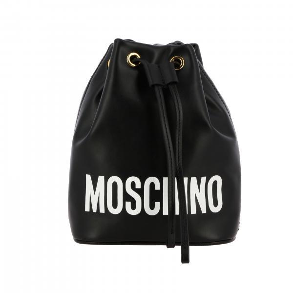 Moschino Couture Beuteltasche aus Leder mit aufgedrucktem Logo
