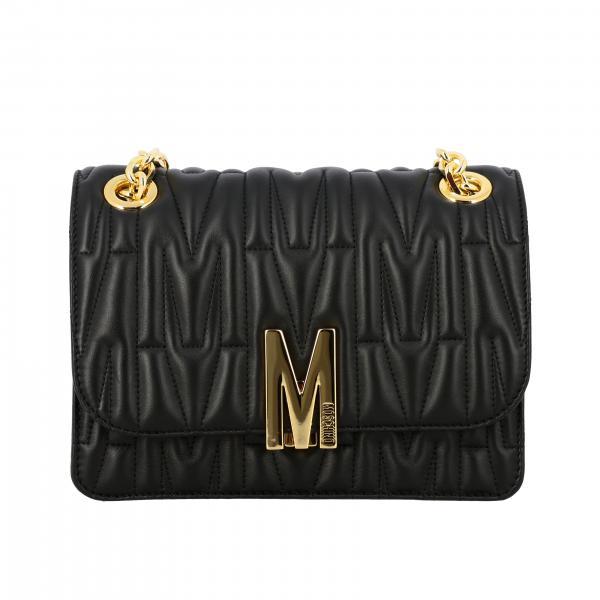Moschino Couture Umhängetasche aus gestepptem Leder mit Logo