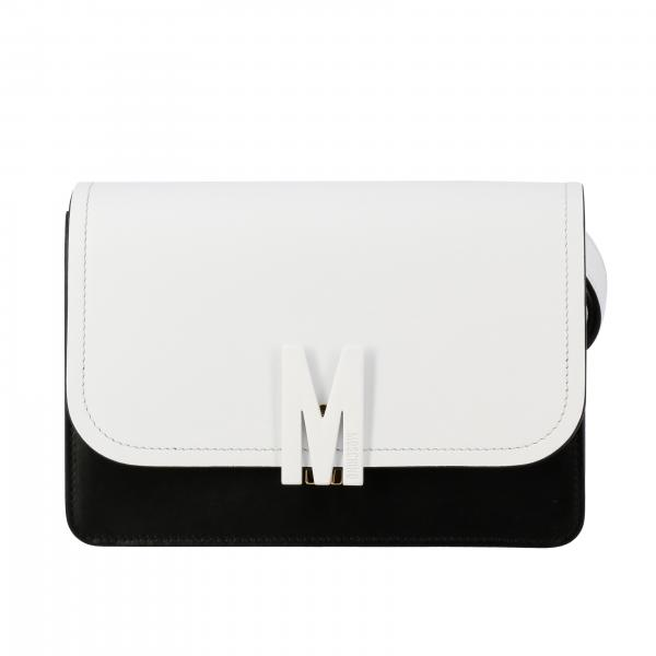 Moschino Couture Umhängetasche aus zweifarbigem Leder mit Logo