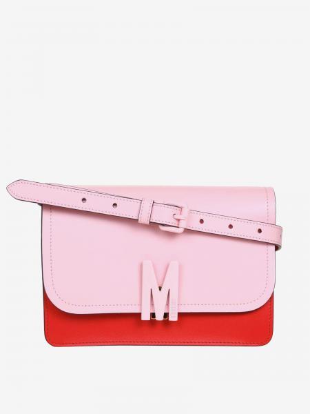 Moschino Couture logo双色真皮斜挎包