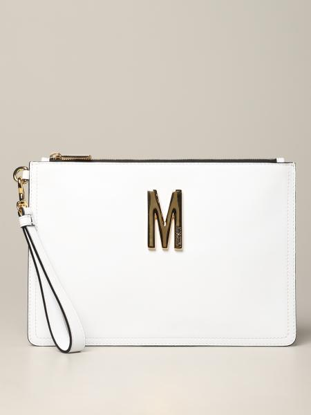 Pochette Moschino Couture in pelle con big monogramma
