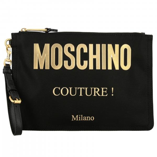 Clutch Moschino Couture in tela con logo laminato