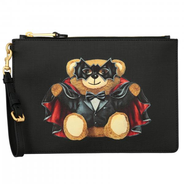Clutch Moschino Couture in pelle saffiano con stampa bat teddy