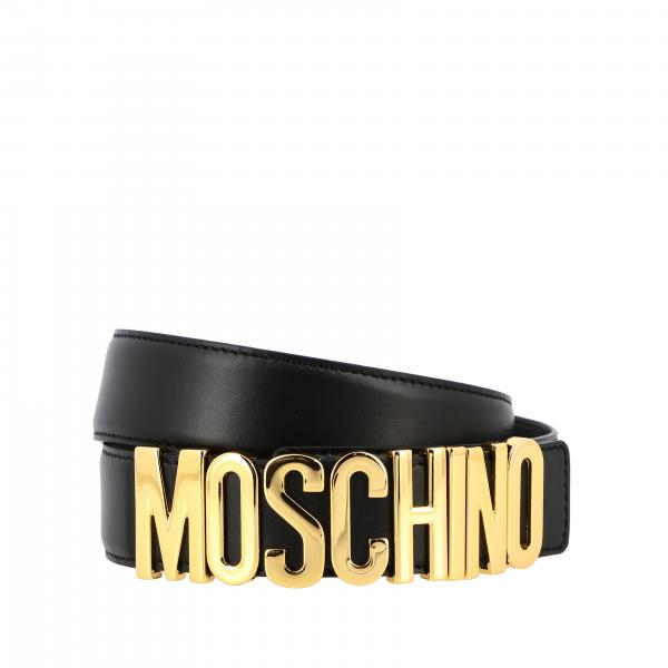 Moschino Couture leather belt with lettering