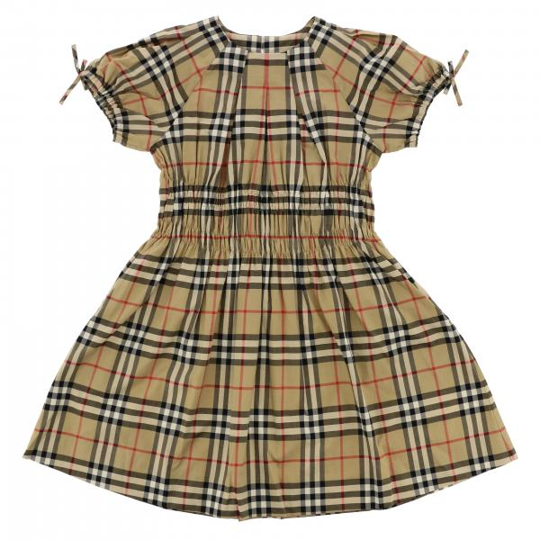 Burberry cotton dress with check pattern